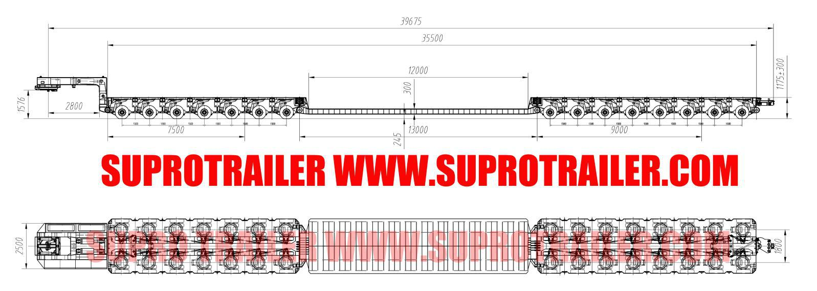 Drop deck bed for Hydraulic modular trailer