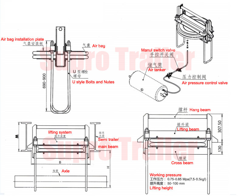technical drawing of mechanical suspension jack up (lifting) system