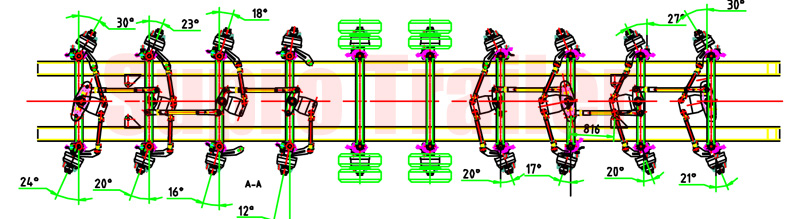 steering system of the multi axles low bed trailer
